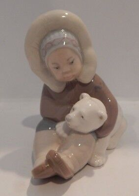 "Lladro #1195 ""eskimo Playing"" Figurine Eskimo W/polar Bear Gloss Finish 5"" Tall"