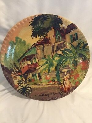 Blue Ridge Pottery Caribbean  New Orleans Plate Handpainted 10 3/8'' signed
