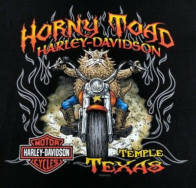 Harley Davidson HORNY TOAD 2-Sided TEMPLE TEXAS Biker T Shirt Men's Medium hog
