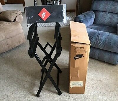 New In Box Vintage 90's Nike Swoosh Black Director's Chair Never Put Together