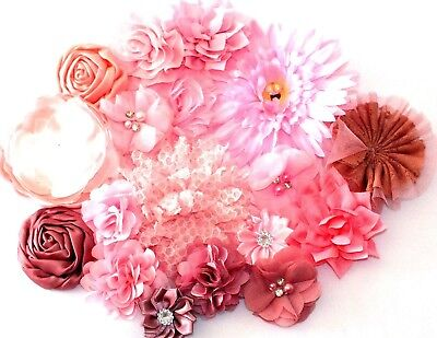 Shades Of Pink Fabric Silk Flowers Craft Hair Clips DIY SEW/GLUE ON CHOOSE KIT