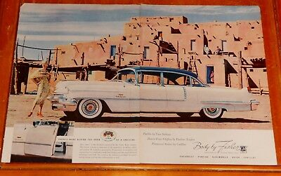 1956 Cadillac Fleetwood 60 Special With Pueblo Monument For Fisher Ad - Vintage