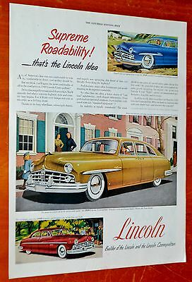 Classic 1949 Lincoln Cosmopolitan Vintage Ad + Kelly Tires Ad On The Back