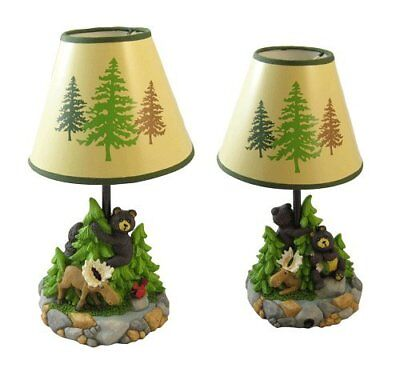 Bear Sculptured Table Lamp Small Forest Nature Desk Light Night Light Rustic New