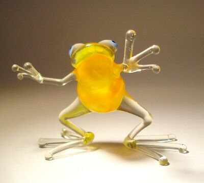 "Blown Glass Figurine ""Murano"" Art Animal Yellow Dancing FROG 2"