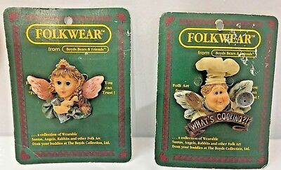 """Vintage BOYDS BEARS folkwear """"What's Cookin"""" Pins Collectible NEW in packaging"""