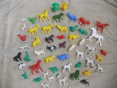 LOT of 53 Vintage Toy Plastic Farm Animals Chickens Cows Sheep Dogs Pigs Goats