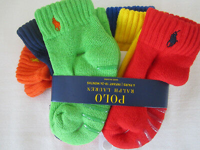 NWT Ralph Lauren Toddler Boy's 6- Pack Gripper Athletic Socks Size 2-4 NEW