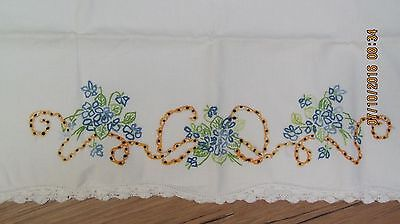Vintage White Hand Embroidered Pillow Case Blue Flowers