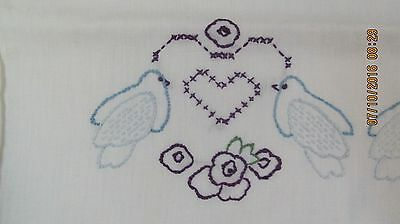 Vintage White Hand Embroidered Pillow Case Blue Birds