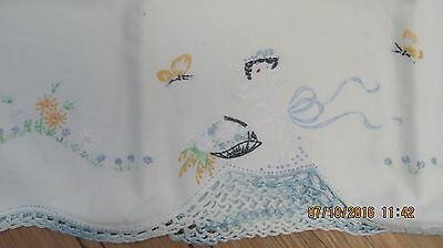 Vintage Hand Embroidered & Crocheted White Pillow Case Southern Belle