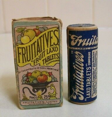 Fruitatives' Fruit Laxo Tablets' , Content & Box, Made In Ogdensburg, N.Y.