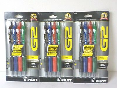 3 4-Packs Pilot G2 Premium Gel Roller Assorted Ink Pens ~ Refillable ~ Fine