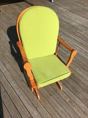 Nursing gliding rocking chair reupholstered in lime green