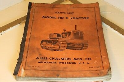Allis Chalmers  HD 9 Tractor Parts List - Manual for Tractor Repair