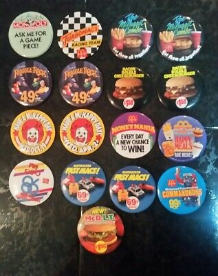 Mcdonalds pin back lot of 17. Vintage. Fraggle Expo Monopoly etc