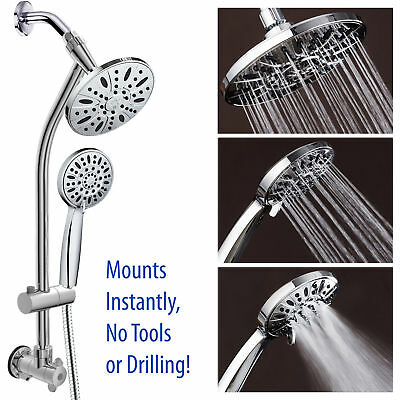"Chrome Finish 28"" DrillFree Stainless Steel Slide Bar Combo W 7"" Rain Showerhead"