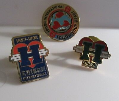 3pc SCE EDISON INTERNATIONAL Lapel Pin Lot 1996-1997 1997-1998 1998-1999 (AP243