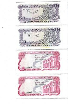 Nice Group of 1969, 1966, 1964 and 1955 Viet Nam Bank Notes #15, #24, #27