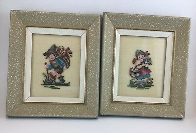 Framed Cross Stitch VTG Embroidery Stitchery Hummel Hiking Needlepoint Flowers