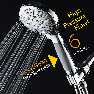 NOTILUS Giant High-Pressure 6-setting Rain Handheld Shower Head Chrome Finish