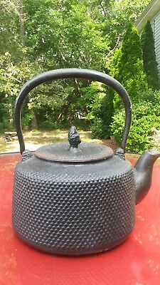 signed chinese cast iron teapot fixed handle