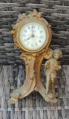 New Haven Clock Co USA-Vintage brass Clock Angel bronze