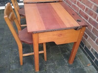 Original Vintage School Desk & Chair