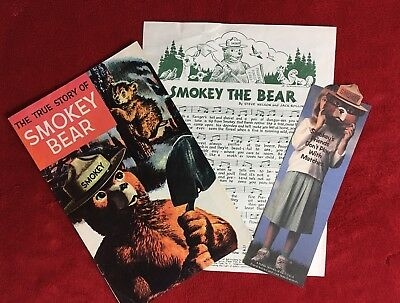 Vintage Smokey The Bear Comic Book + 2 Other Forest Service Smokey Items
