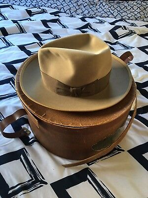 Resistol Fedora 1940's vintage hat size 7 tan color with box