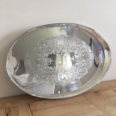 Large Silver Plated On Copper Galleried Double Handled Butler's Tray 22 Inches