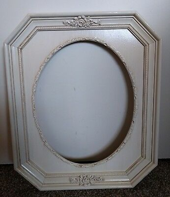 Vintage Oval Ornate antique white  Wooden Victorian style Picture Frame 15 x 18""