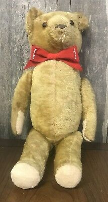 """Antique Teddy Bear with 10k Gold Necklace - 17"""" Height, Stitched, Jointed"""
