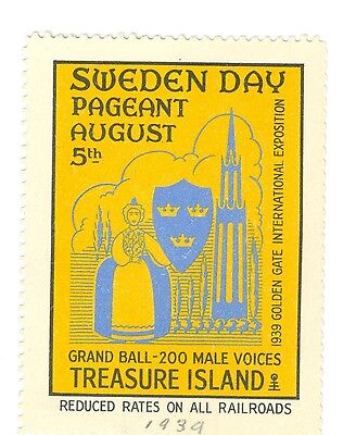 Unused Sweden Day at Aug 5, 1939 San Francisco Golden Gate Inter Expo GGIE Decal