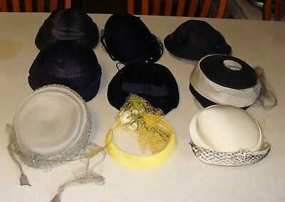 Lot Of 9 Vintage Ladies Hats 1940's-1960's Netting Pillbox other Various Styles