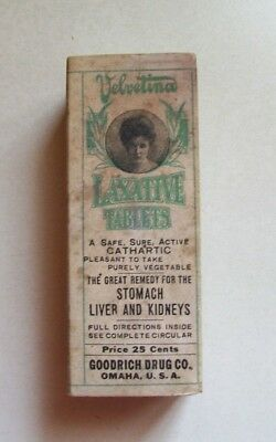 Velvetina Laxative Tablets, Contents, Nice Condition, Made In Goodrich, Omaha