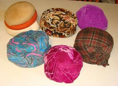 Lot Of 6 Vintage Ladies Hats 1960's Wool Turban
