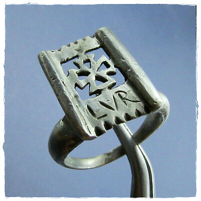 ** CROSS - KEY **  beautiful  ancient SILVER BYZANTINE ring !!!