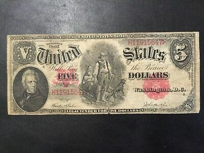 1907 United States Note - 5 Dollars Large Banknote !