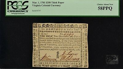 Virginia Colonial Currency Mar. 1, 1781 $250 Thick Paper PCGS CAN 58 PPQ