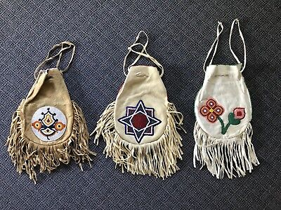 Vintage Native American Indian Fringed Beaded  Bags