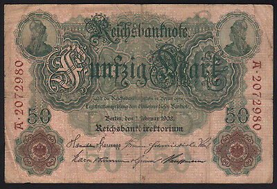 1908 50 Mark Germany Vintage Paper Money Banknote Currency Rare Antique Old Bill