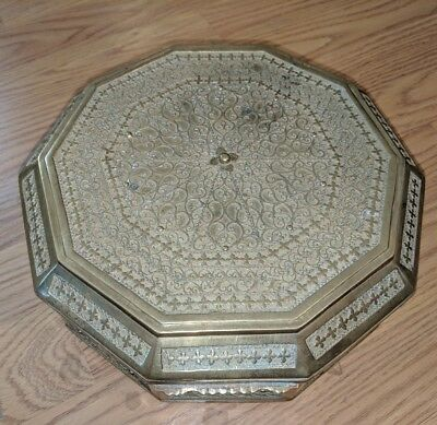 Antique Persian Indian Brass Box Cast Octagonal 19th Century