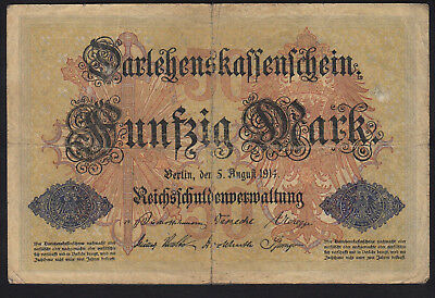 1914 50 Mark WWI Germany vintage paper money banknote currency rare antique old