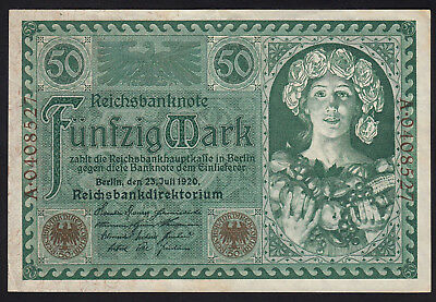 1920 50 Mark Germany XF Vintage Antique Rare Paper Money Old Banknote Currency