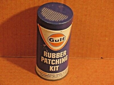 Vintage Advertising  Gulf Oil  Auto Tire Patch Kit Tin Can Gas Station VGC !