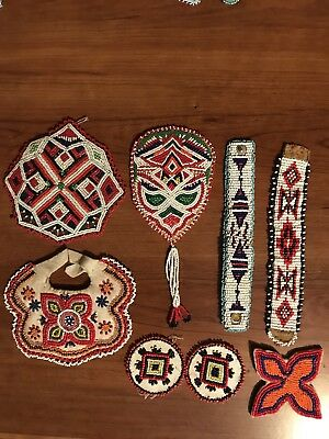 8 Native American Beaded Medallions And Bracelets