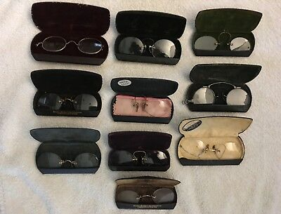 Lot of 10 Antique Vintage Eyeglasses with cases
