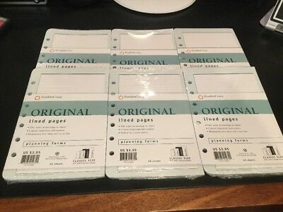 6 Packs NEW Franklin Covey 7 hole original Lined Pages 5.5 x 8.5 Planning Forms