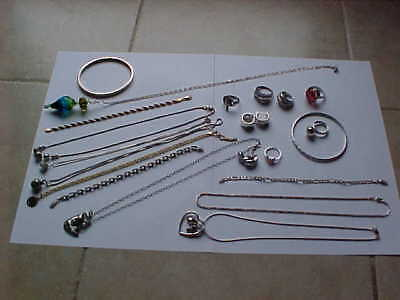 LARGE LOT STERLING SILVER JEWELRY RINGS EARRINGS BRACELETS  5 oz. No scrap